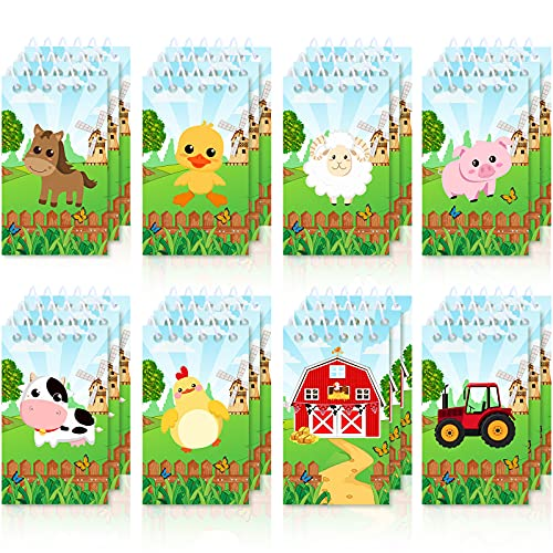 24 Pieces Mini Farm Animal Notepad Cute Barn Pocket Notepads Notebooks Spiral Notepad Cow Sheep Tiny Notebook Farmhouse Animal Cartoon Notepad Classroom Memo for Kids Birthday Party Favor Supplies