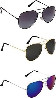 Dervin Aviator Unisex Sunglasses - Combo of 3 (55, Black and Blue)