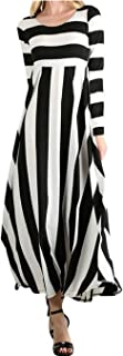 Women's Casual Loose Striped Round Neck Long Sleeve Fit and Flare Long Maxi Dress