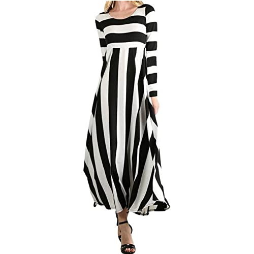 cee8b12c46 ORQ Women's Casual Loose Striped Round Neck Long Sleeve Fit and Flare Long  Maxi Dress