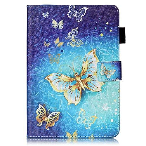 Billionn iPad Mini 1 / iPad Mini 2 / Mini 3 / Mini 4 Case, 3D Glitter PU Leather Slim Stand Protective Cover for Apple iPad Mini 1 / Mini 2 / iPad Mini 3 / iPad Mini 4 (Gold Butterfly)