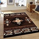 Southwest Native American Indian Chocolate Carpet Area Rug (8 Feet X 10 Feet)