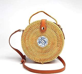 Sturdy PU Shoulder Strap Adjustable Length Blue and White Porcelain Decoration Hand-Woven Vine Handbag Round Crossbody Handbag Fashion Beach Handbag Large Capacity (Color : Brown)