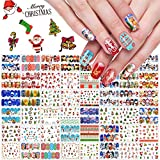Kalolary 48 Fogli Adesivi Unghie Natale Natalizi Trasferimento ad Acqua Decalcomanie Nail Stickers Water Decals Natale Adesivi per Decorazioni Unghie Nail Art Fai da Te