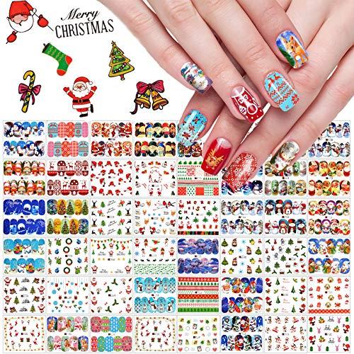 Kalolary 48 Fogli Adesivi Unghie Natale Natalizi Trasferimento ad Acqua Decalcomanie Nail Stickers Water Decals Natale Adesivi per Decorazioni Unghie Nail Art Fai da Te