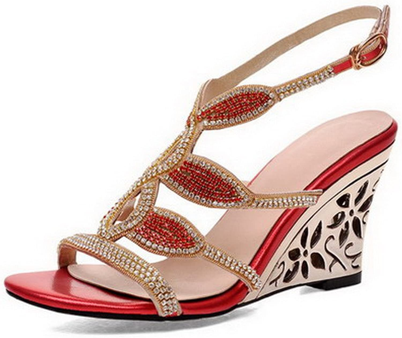 AmoonyFashion Women's Open Toe Buckle PU Solid High Heels Sandals