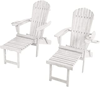 W Unlimited SW2005WT-CL2 Chaise Lounge Adirondack Chair, White