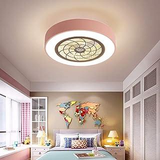 N / A Ventilador Ventilador de la habitación de IDA y silencioso Ventilador de Techo Luz de Techo LED de luz de regulación máxima Ronda luz Ahorro de energía Tranquilo Comedor (Azul, 45 cm),Ros.