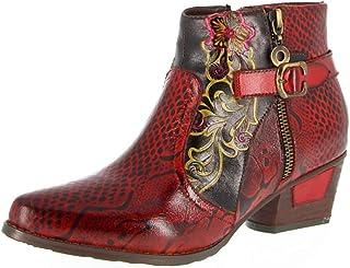 Stivaletti Donna in Pelle con Tacco A Blocchi di Giunzione Vintage Stivali Casual Comodo Esterna Antiscivolo Walking Shoes