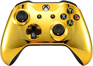 eXtremeRate Chrome Gold Front Housing Shell Faceplate for Microsoft Xbox One S & Xbox One X Controller