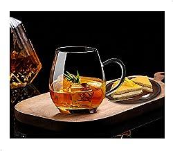 Ultra Clear Glass Tea Mug | Coffee Mug by Sun's Tea | 16 oz (470 ml) | Borosilicate - Glasses w Big Handle | Simple and El...