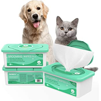 Unscented Pet Grooming Wipes for Dogs and Cats with Soothing Oatmeal Fragrance-Free 4 x 100 Count Hypoallergenic and Deodorizing