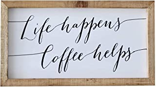 SANY DAYO HOME Rustic Wood Framed Coffee Signs 9 X 16 inch Hanging Farmhouse Wall Art Décor for Home, Kitchen, Bathroom - Life Happens Coffee Helps