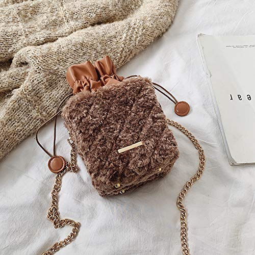Herbst und Winter pelzigen Beutel, modische Umhängetasche, Single Shoulder Bucket Bag, 13x13x13cm, zum Einkaufen, Feiern und andere Gelegenheiten
