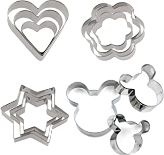 ALIANFIY Cookie Cutters Molds Set - Stainless Steel Pastry Pie Crust Vegetable Fruit Cookie Cutter, Fondant Tool Pastry Biscuit Cake Baking Egg Cooking Molds Mickey Mouse Star Heart and Flower