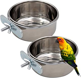 Tfwadmx 2 Pack Bird Feeding Dish Cups, Parrot Food Bowl Clamp Holder - Stainless Steel Coop Cup, Bird Cage Water Bowl for Parakeet African Greys Conure Cockatiels Lovebird Budgie Chinchilla