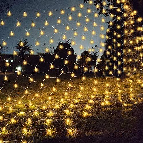 Silingsan Rete di Luci a LED, 200 LED Catene Luminose 3x2M 8 Modalità Impermeabile Energetico,Timer, Dimmerabile per Casa GiardinoTerrazza DIY Natale Feste Halloween Bianca Caldo