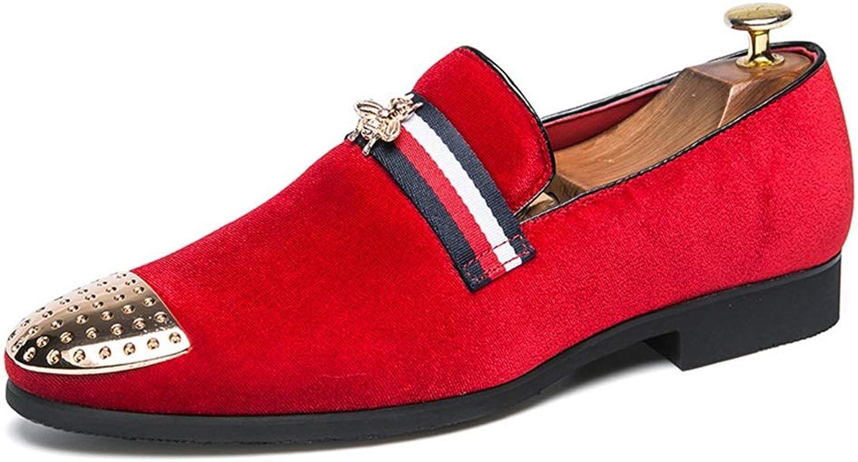 YAN Herren Kleid Schuhe Kunstleder Frühling Herbst britische Loafers & Slip-Ons schwarz rot   Party & Abend (Farbe   Rot, Gre   47)
