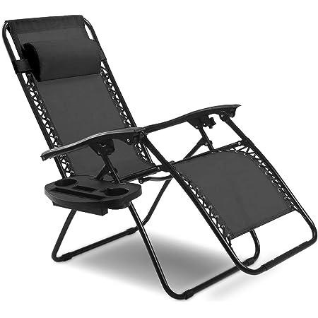 2x Folding Recline Zero Gravity Chairs Garden Lounge Beach Camp Portable W//Trays