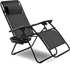 Goplus Folding Zero Gravity Reclining Lounge Chairs Outdoor Beach Patio W/Utility Tray (Black)
