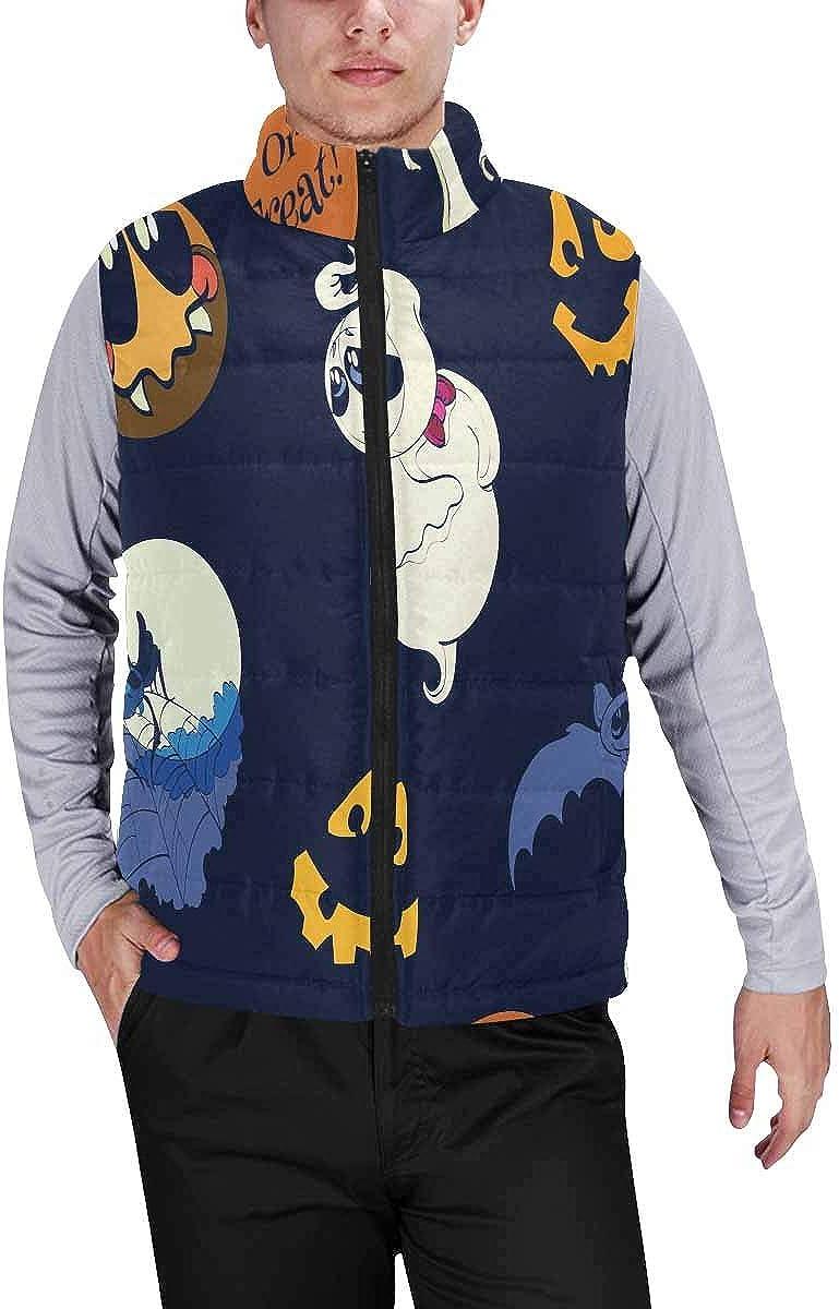 InterestPrint Men's Lightweight Sleeveless Jacket for Travel Hiking Running Skeleton Pattern