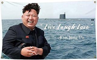 Kim Jong Un Live Love Laugh Flag 3x5 Ft - Nelk Poster Vivid Color - Cool Outdoor Indoor Banner College Dorm Room, Man Cav...