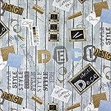 Fabulous Fabrics Halbpanama grau, Buchstaben und Zahlen,