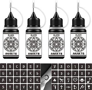 ANAKTB Temporary Tattoo Kit, 4 Bottles Temporary Tattoo Ink with Tattoo Stencils, Waterproof Fake Tattoos, Semi Permanent ...
