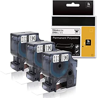 Fimax Compatible Industrial Permanent Labels Replacement for DYMO Rhino 18484, for DYMO LabelWriter and Industrial Label Makers, Black on White, 3/4 inch x 18ft (19mm x 5.5m), 3 Rolls