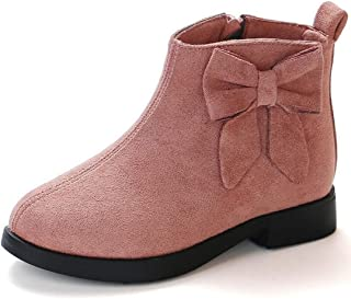 Girl's Cute Bow Warm Ankle Martin Boot Outdoor Side Zipper Short Winter Snow Booties
