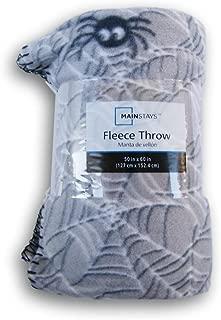 Gray Spiderweb Patterned Fleece Throw Blanket - 50in X 60in