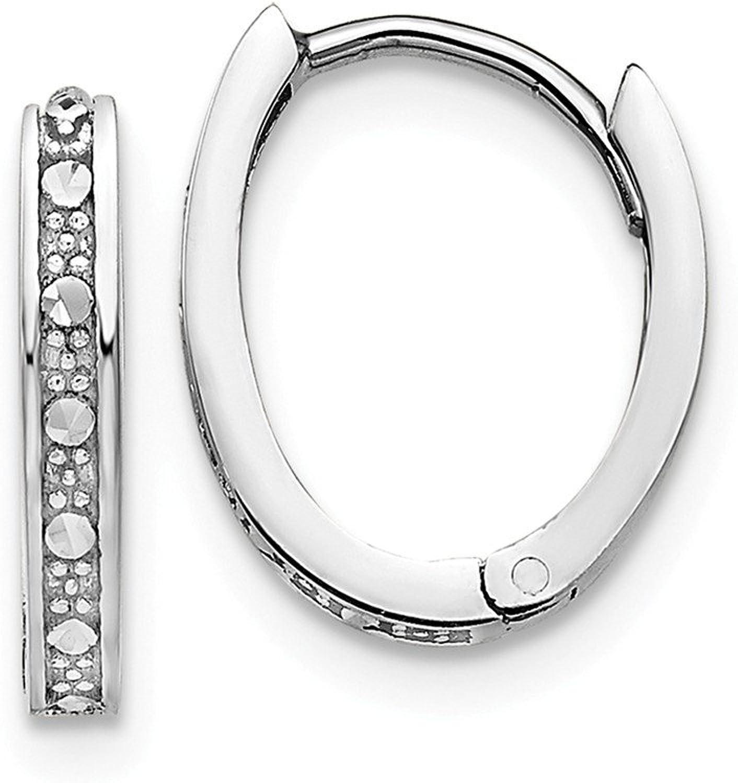 Beautiful White gold 14K 14k White gold Diamondcut Hinged Hoop Earrings