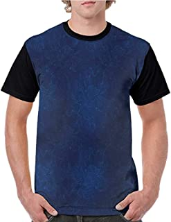 Tops O Neck T Shirts,Royal Blue,Middle Eastern Leaves S-XXL Sleeves for Men