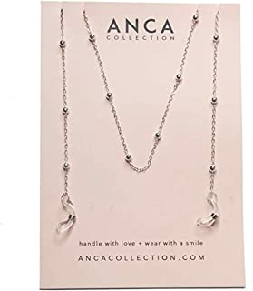Anca Collection - Dainty Silver Sunglasses Chain - Sunglass Eyeglass Spectacles Holder Cord Adjustable Non-slip Metal Ends...