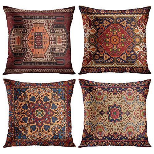 Emvency Set of 4 Throw Pillow Covers Tribal Abstract Dark Red and Yellow Vintage Persian Carpet Pattern Decorative Pillow Cases Home Decor Standard Square 18x18 Inches Floral Pillowcases