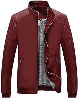 Men's PU Bomber Jacket Casual Wear 【 Size M-5XL 】 Lightweight Windbreaker Slim Fit
