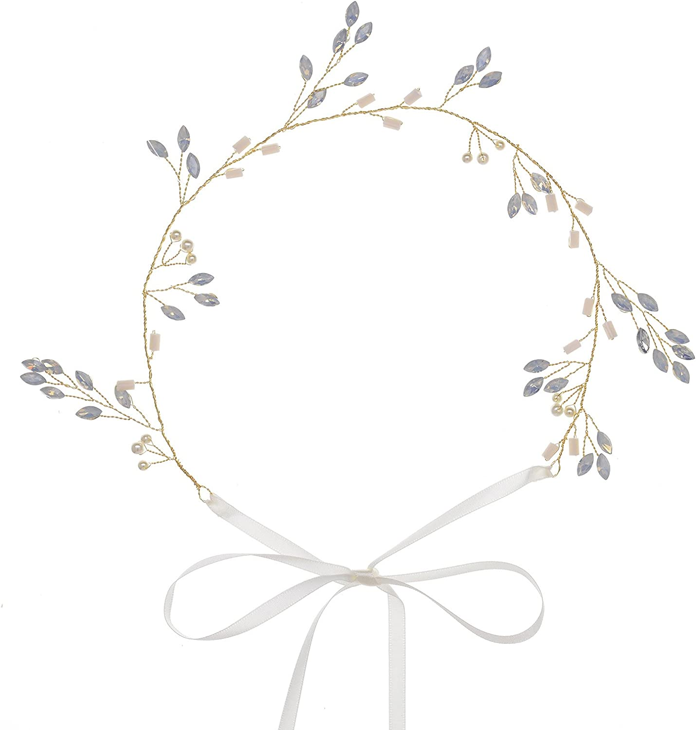 Remedios Crystal Headpiece Jewelry Branch and leaf Bridal Headpieces Beaded Hair Wreath for Women Styling