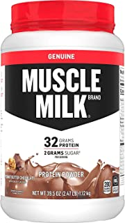 Muscle Milk Genuine Protein Powder, Peanut Butter Chocolate, 32g Protein, 2.47 Pound, 16 Servings