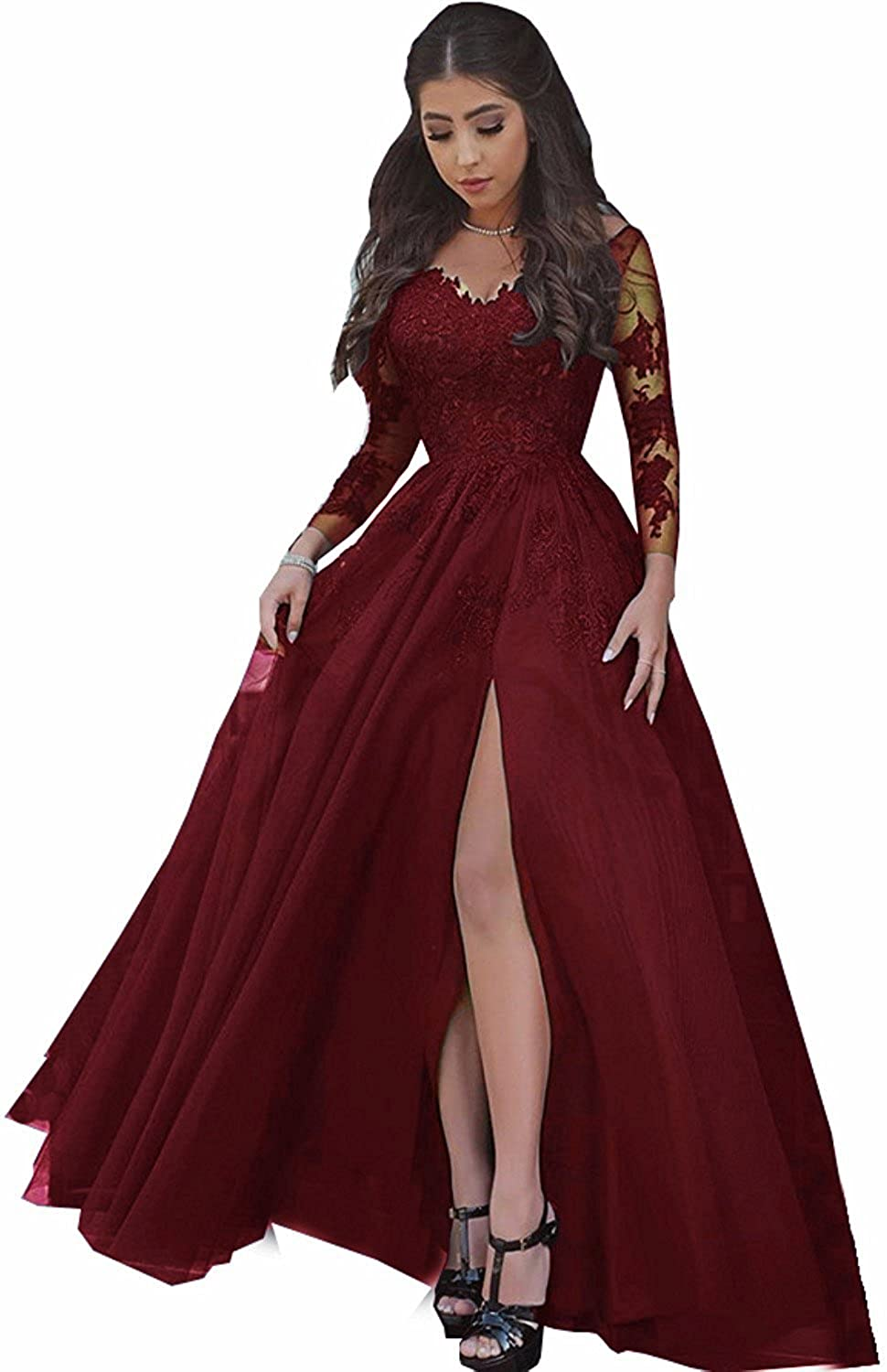 Alexzendra Women's A Line V Neck Evening Dress Formal Party Gown With Long Sleeves