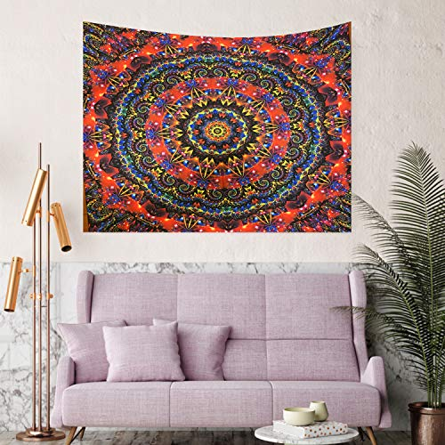 Xnuoyo Tapiz Sala de Estar Dormitorio Decoración de Interiores Montada en la Pared Cielo Estrellado, Sol y Luna, Flor de Mandala, Tapiz Colgante de Pared en Blanco y Negro (150X130CM)