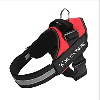 Padded Adjustable Non Pull Dog Harness Safety Reflective Heavy Duty Chest/Back Collar with Handles for Small Medium Large ...