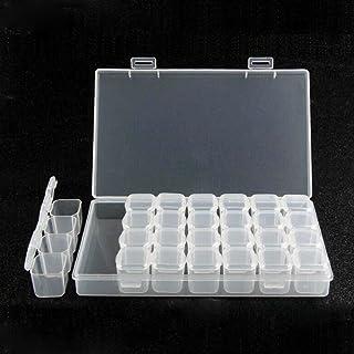 Semoic 収納ツール DIYリムーバブル クリア プラスチックオーガナイザー ネイルアート ラインストーン 28ダイヤモンドジュエリー イヤリング/ビーズ/ネックレスの収納ボックス ディスプレイスタンド