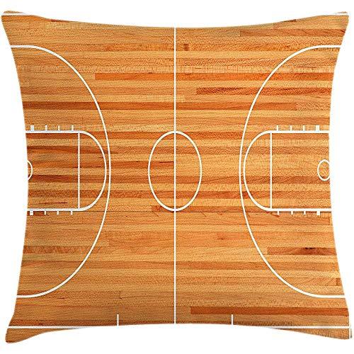2pcs Sport Dekokissen Kissenbezug,Standard Grundriss auf Parkett Hintergrund Basketballplatz Spielplatz drucken,dekorative quadratische Akzent Kissenbezug,36 X 20,weiß braun