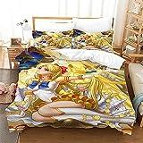 JXSMYT 3D Anime Sailor Moon - Juego de cama infantil de microfibra de poliéster, 2/3 piezas, con cremallera, para niñas (MSNBY-13,200 x 200 cm + 2 x 50 x 75 cm)