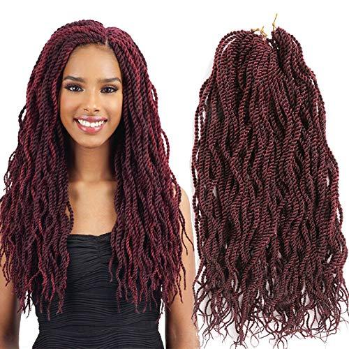Senegalese Twist Crochet Hair Braids Extension 22inch 6packs total 144strands for very full head Wavy Curly Twist Crochet Hook Style Japanese Fiber Havana Mambo Ombre Color Braiding Hair (99J)