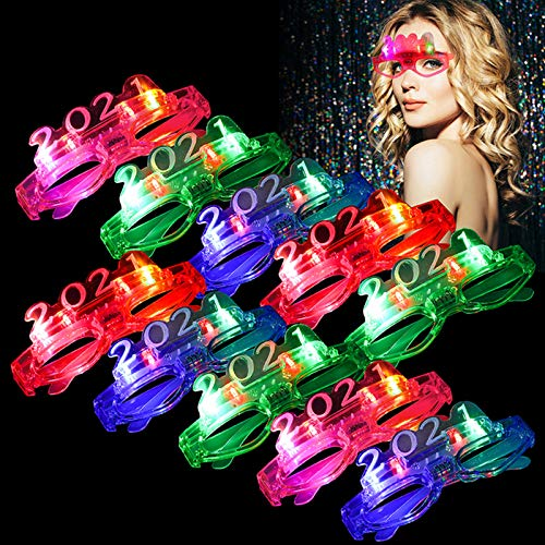 10 LED Partybrillen, Bageek LED Brillen für Party Leuchtend Set Lustige Partybrille 2021 Brillen LED Party Requisite für Rollenspiele am Silvesterabend Weihnachten Halloween