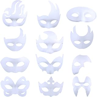 White Masks, 12PCS DIY Unpainted Masquerade Masks Plain Half Face Masks (Different)