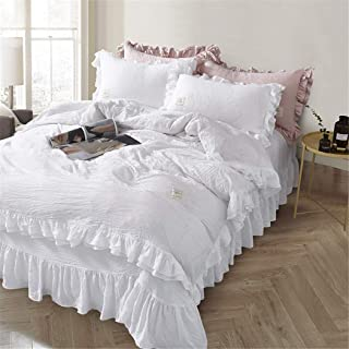 MooWoo Ruffle Duvet Cover Set, Soft and Breathable Washed Microfiber 3pcs Bedding Set, Shabby Chic Farmhouse Duvet Cover and Pillow Shams, Zipper Closure & Corner Ties, Simple, Easy Care - King, White