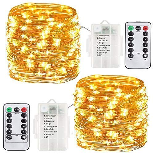 Fairy Lights String 10M 100LED, Battery Powered Warm White Copper Wire Lights for Indoor/Outdoor/Christmas/Wedding/Garden etc.(Warm White) 2 Pack (Warm White)