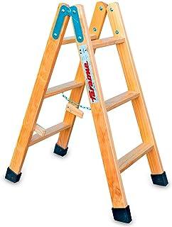 Escalera Tijera Doble Subida Escalera Plegable LDB 03-3+3 Pelda/ños Resistente y Duradera Fabricada en Madera de Pino Faraone 90x44x12 cm Madera Barnizada Pelda/ños de 8 cm